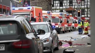 Emergency vehicles near car crash scene
