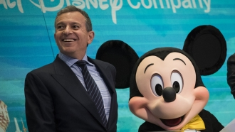 Bob Iger with Mickey Mouse mascot