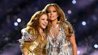Shakira and Jennifer Lopez at Super Bowl halftime show