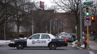 Milwaukee police work the scene of a shooting at the Molson Coors Brewing Co. campus on February 26, 2020