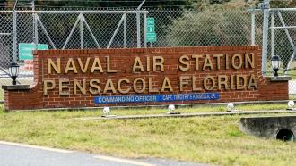 Pensacola Naval Air Station following a shooting on December 6, 2019 in Pensacola, Florida.