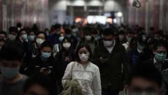 People in Hong Kong wearing medical masks