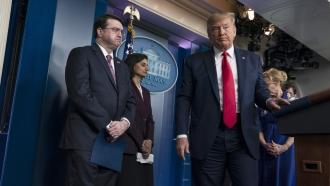 U.S. Secretary of Veterans' Affairs Robert Wilkie and President Trump