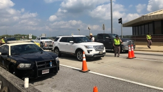 A highway checkpoint set up in Florida