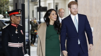 Prince Harry and his wife Meghan, the Duchess of Sussex