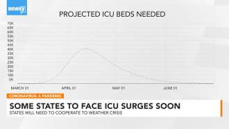 Graphic showing projection for ICU beds
