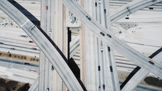 Cars on overpasses