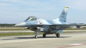 An F-16 Fighting Falcon returns from a mission at Tyndall Air Force Base, Florida.