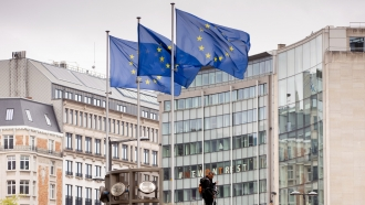 European Union flags flap in the wind