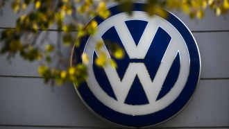 Volkswagen logo on a manufacturing plant