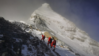 Chinese surveying team scales Mount Everest