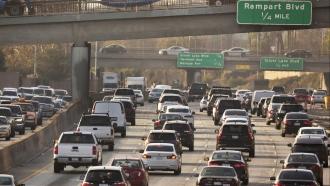 Jammed traffic on Hollywood Freeway in Los Angeles in December, 2018.