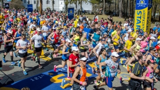 People running in the Boston Marathon