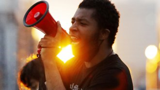 A protest leader with megaphone