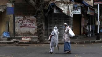 Residents on street in Mumbai, India, hard hit by the coronavirus.
