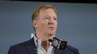NFL Commissioner Roger Goodell speaks during a press conference