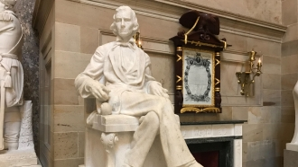 Statue of Alexander Hamilton Stephens in the U.S. Capitol Stephens was vice president of the Confederacy.