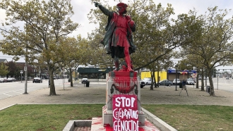 Christopher Columbus statue vandalized with red paint