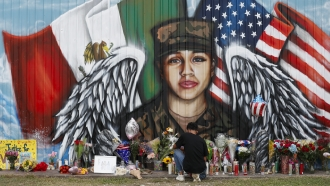 A mural honoring Army soldier Vanessa Guillén.