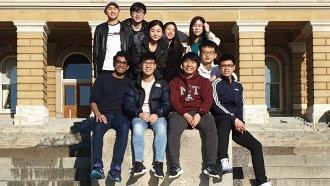International student Christian Jackson with friends at Drake University