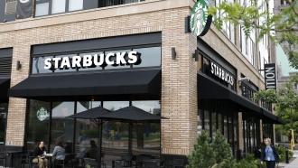 A Starbucks café storefront