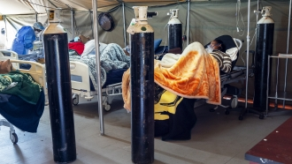 Covid-19 patients are being treated with oxygen at the Tshwane District Hospital in Pretoria, South Africa.
