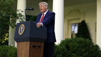 President Donald Trump holds a news conference