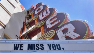 "Tower Theatre venue sign says ""We Miss You, OKC"""