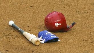 Philadelphia Phillies helmet and bat