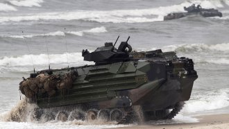A U.S. Marine Amphibious Assault Vehicle similar to this left eight Marines and one sailor missing after it sank.
