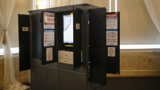 A new state-issued voting machine is seen at Park Tavern used for the Georgia's primary election on Tuesday, June 9, 2020