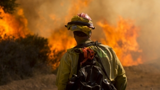 A firefighter watches as flames flare at the Apple Fire in Cherry Valley, Calif.
