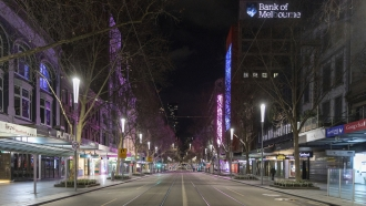 An empty street in the Central Business District in Melbourne.