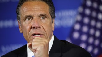 New York Gov. Andrew Cuomo speaks during a news conference at the National Press Club in Washington.