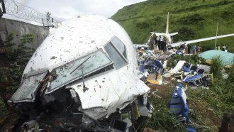 This is the Air India Express flight that skidded off a runway while landing in Kozhikode, Kerala state, India.