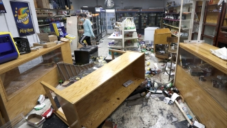 Vandalized store in Chicago following overnight looting
