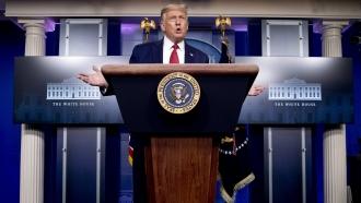 President Trump briefs the media