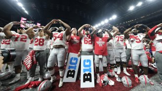 Ohio State football players celebrate