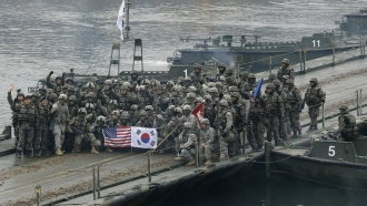 U.S. and South Korean army soldiers together for their annual joint military exercise.