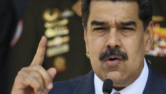 Venezuelan President Nicolas Maduro gives a press conference.