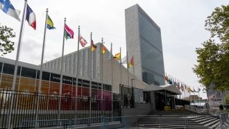 The main entrance to the United Nations headquarters in New York.