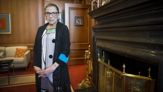 Associate Justice Ruth Bader Ginsburg is seen in her chambers in at the Supreme Court in Washington