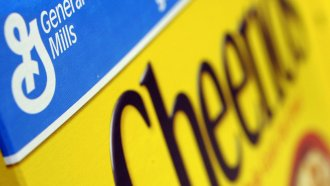A box of General Mills' Cheerios is seen on a shelf at a Shaw's Supermarket in Gloucester, Mass.