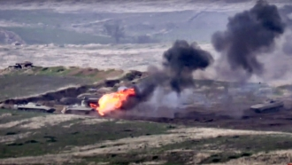 Armenian forces destroy Azerbaijani military vehicle at the contact line of the self-proclaimed Republic of Nagorno-Karabakh