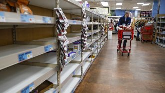 Grocery stores are trying not to have empty shelves again like they did in March by stockpiling inventory.