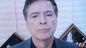 Former FBI director James Comey testifies via videoconference.