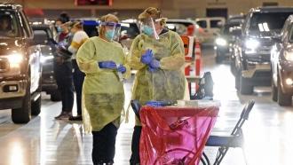 Bismarck-Burleigh Public Health nurses work a weekly drive-thru COVID-19 testing.