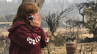 Nikki Conant cries as she looks at the debris of her home and business after the Glass/Shady fire completely engulfed it,