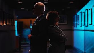 Actors Jim Carrey and Maya Rudolph portray politicians Joe Biden and Kamala Harris.