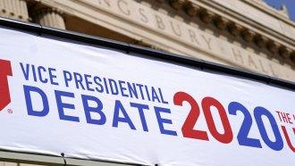 A banner in Utah announcing the vice presidential debate